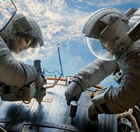 Sandra Bullock and George Clooney in Alfonso Cuaron's 'Gravity' (Warner Bros.)